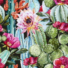 Panel Szklany Egzotyczne Watercolor cactus pattern