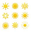 Leinwandbild Motiv Set of glossy sun images