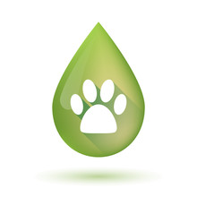 Olive Oil Drop Icon With An Animal Footprint
