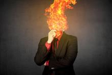 Fire Head Business Man