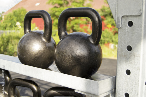 Great gym fitness outside in a park work out center in sweden