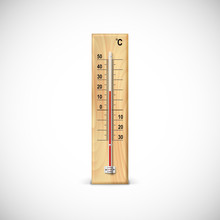Thermometer On Wooden Base.