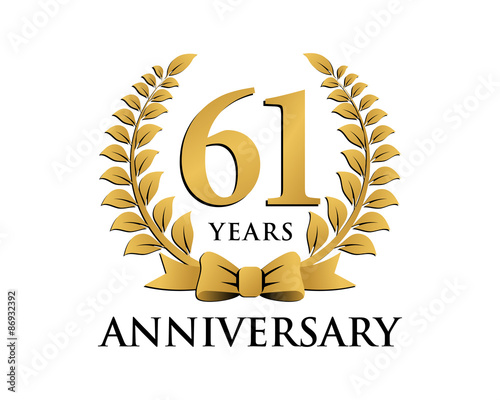 Fotografia  anniversary logo ribbon wreath 61