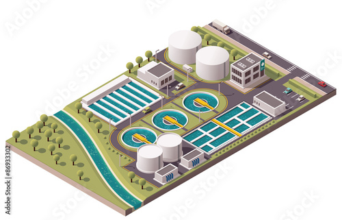 Fotografía  Vector isometric water treatment plant