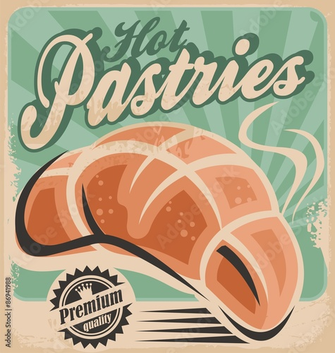 Fototapeta Retro pastries sign on old paper texture