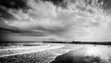 Leuchttürme Und Dramatische Gewitter Wolken An Der Küste Von Grau D'agde