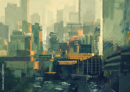 cityscape painting of urban sky-scrapers at sunset