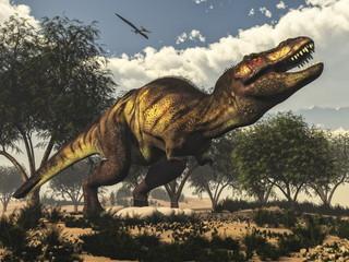 Fototapeta Tyrannosaurus rex dinosaur protecting its eggs - 3D render