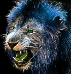 Fototapeta Lew Fractal digital fantasy art of a lion on a isolated background