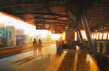Painting Showing Couple Waiting A Train On The Station