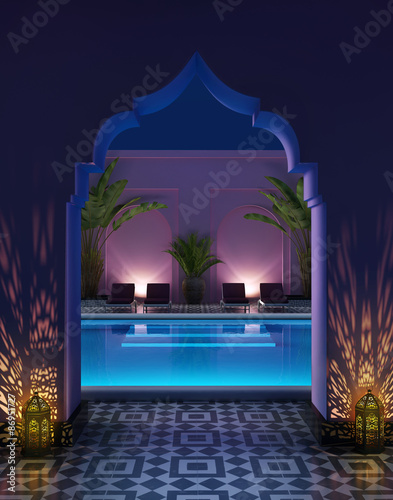 Fotografía  Moroccan riad courtyard with a swimming pool