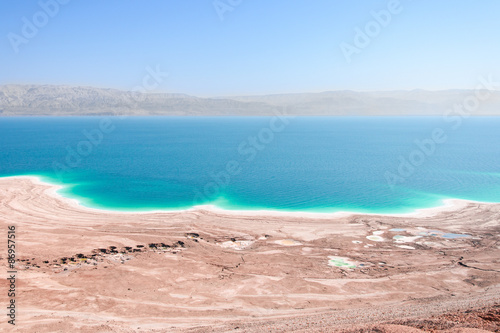 Canvas Prints Blue Aerial view Dead Sea coast landscape with therapeutic curative mud