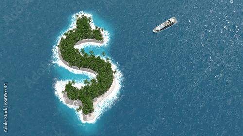 Paradis fiscal, financier ou évasion des fortunes sur un île en forme de dollar.