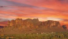Sun Set Over Mountain In The Desert Phoenix, Arizona, USA