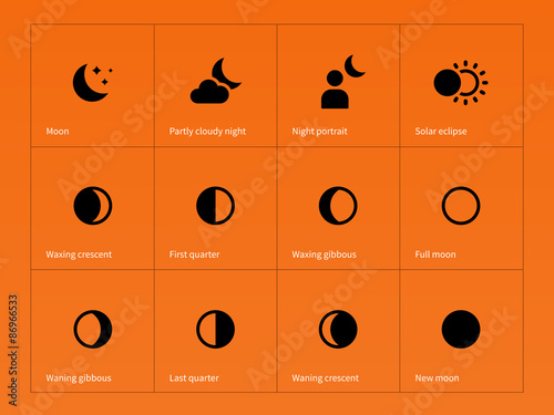 Photo Moon eclipse icons on orange background.