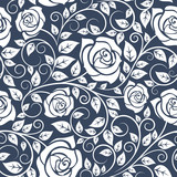 Seamles pattern with stems of white roses