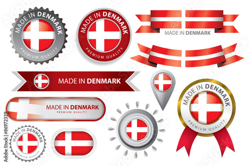 made in Denmark Seal Collection, Danish Flag (Vector Art) Poster