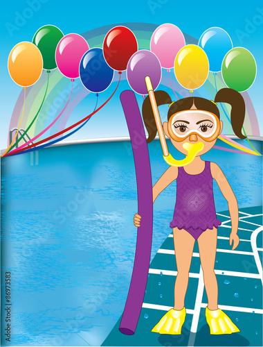 In de dag Regenboog Pool Snorkel Girl Purple