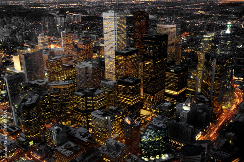 Wall Murals Toronto An aerial view of Toronto, Canada at night