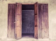 Vintage Open Wooden Door