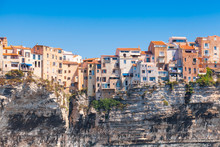 Old Living Houses On The Cliff. Bonifacio, Corsica