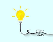 Bright Polygon Lightbulb As Idea Concept
