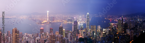 Foto auf AluDibond Hongkong Hong Kong from day to night