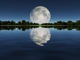 Fototapeta Natura - Moonrise over Lake
