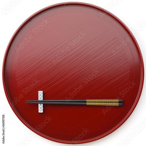 Fotografie, Obraz  お盆と箸/朱塗りのお盆と箸