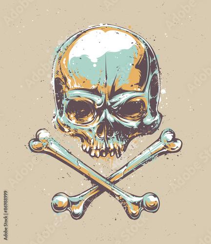 Printed kitchen splashbacks Watercolor skull Grunge Skull