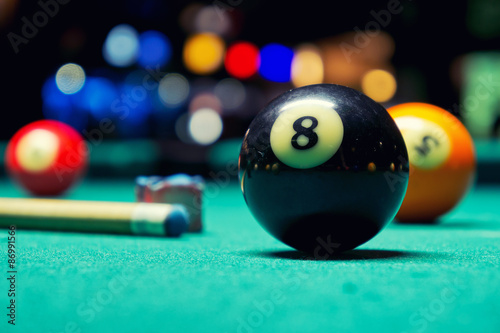 Fotografie, Obraz  Billiard balls in pool hall