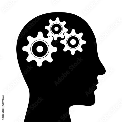 Fotografie, Obraz  Human head with gears white background