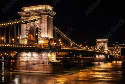 The Szechenyi Chain Bridge in Budapest, Hungary at night