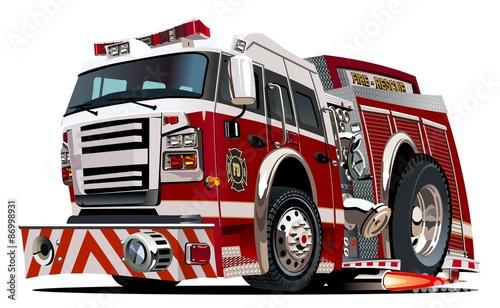 Obraz na płótnie Vector cartoon firetruck