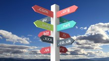 Signpost With Domain Names Wit...
