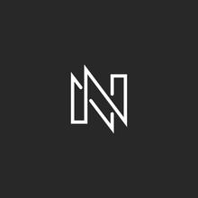 Modern Monogram Letter N Logo, Black And White Business Card Design