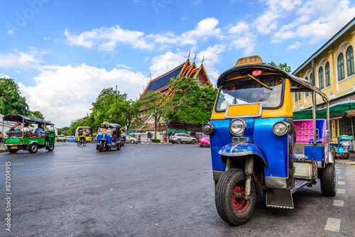 Photo Stands Bangkok Blue Tuk Tuk, Thai traditional taxi in Bangkok Thailand.