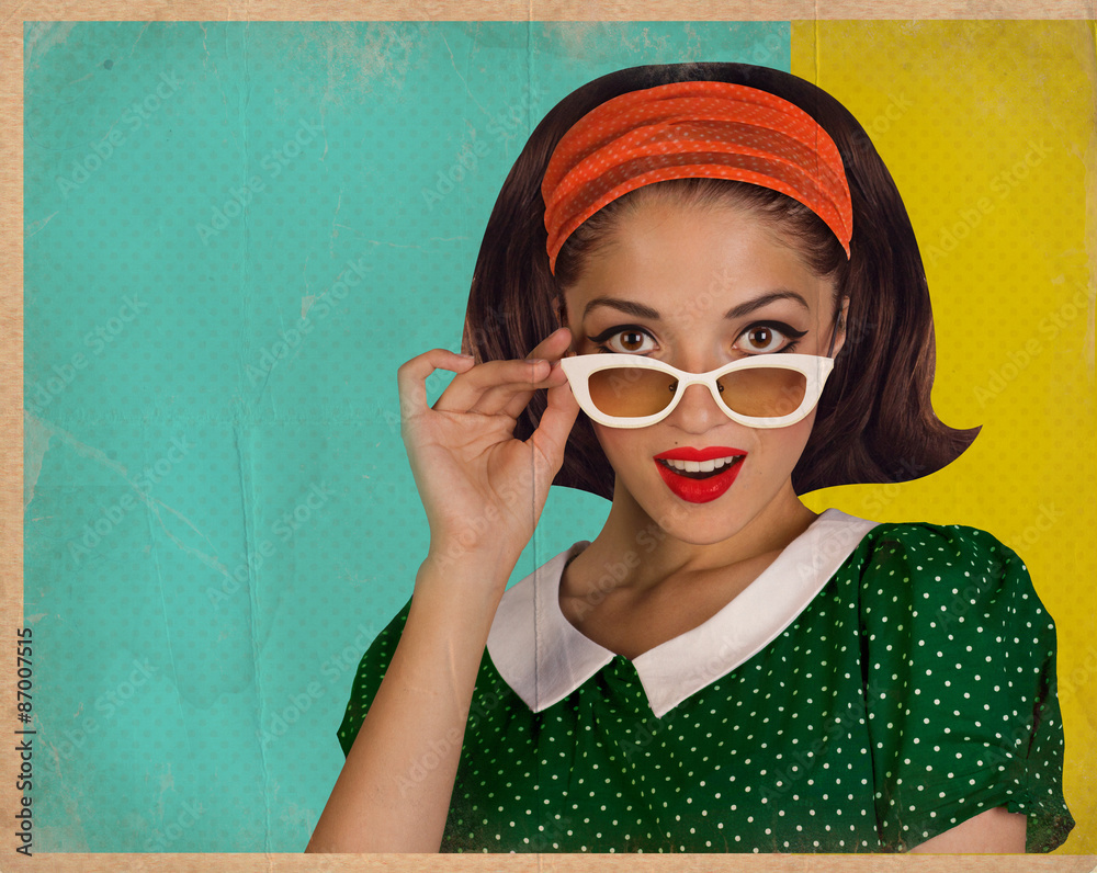Fototapety, obrazy: Retro pretty woman and red telephone
