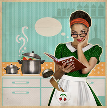 Young Pretty Housewife Cooks In The Kitchen.Retro Card On Old Pa