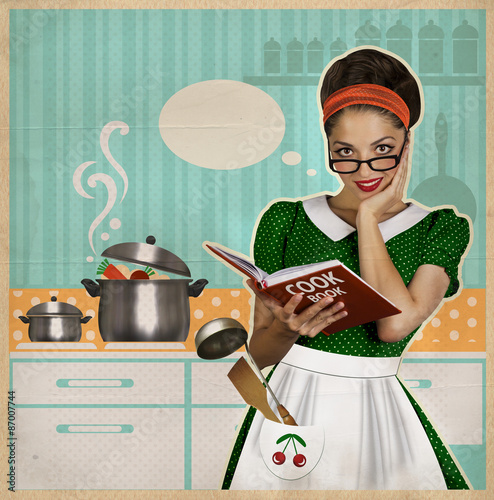 Young pretty housewife cooks in the kitchen retro card on for Kochen 50er jahre
