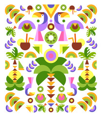 Tropical Flowers Graphic Design  for t-shirt, fashion, prints