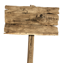 Wooden Sign Isolated On White....