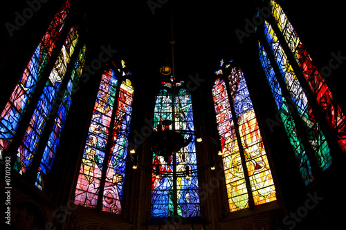 Stained glass in Saint Etienne de Metz Cathedral, France Canvas Print
