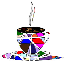 Naklejka Popularne abstract cup of tea