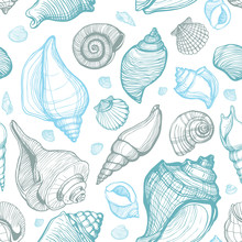 Beach Seashell Pattern. Vector Seamless Pattern With Seashells