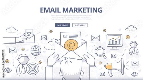 Fotografie, Obraz  Email Marketing Doodle Concept