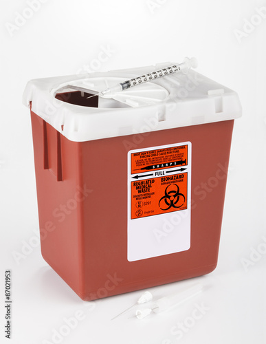Fotografie, Obraz  Medium size sharps container used for medical and dental waste.