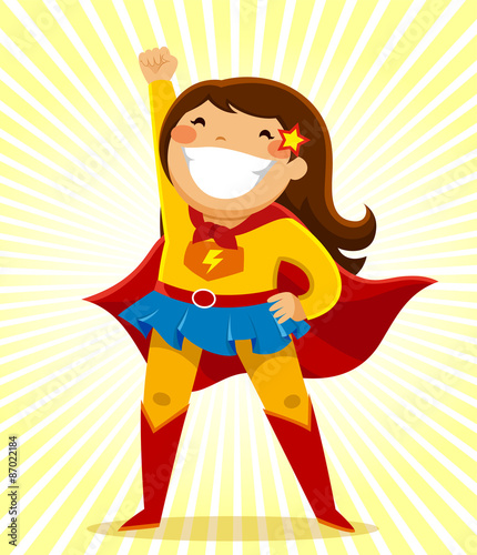 Photo  girl in a superhero costume standing in a heroic position