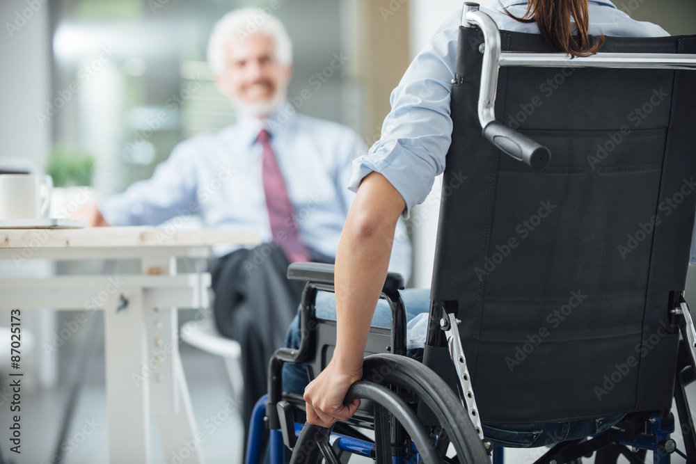 Fototapety, obrazy: Disabled woman having a business meeting
