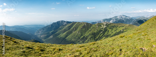 Foto op Plexiglas Bergen Panorama of amazing summer mountains under blue sky